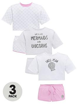 v-by-very-girls-3-pack-mermaids-and-unicorns-jersey-short-pyjamas-multi