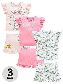 mini-v-by-very-girls-3-pack-mermaid-jersey-short-pjs-multi
