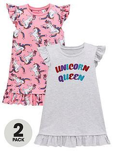 mini-v-by-very-girls-2-pack-unicorn-nightiesnbsp--multi