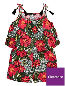 v-by-very-girls-double-layer-floral-print-playsuitnbsp--khaki