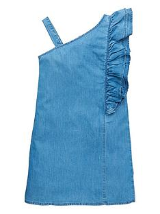 v-by-very-girls-denim-one-shoulder-frill-dress-blue