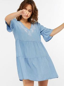 accessorize-chambray-embroidered-trapeze-dress-blue
