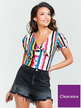 michelle-keegan-tie-front-co-ord-top-stripe