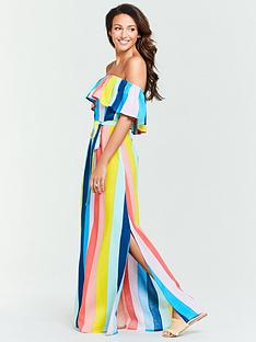 michelle-keegan-cold-shoulder-stripe-maxi-dress-multi