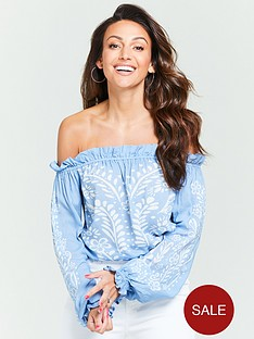 michelle-keegan-printed-bardot-top-blue