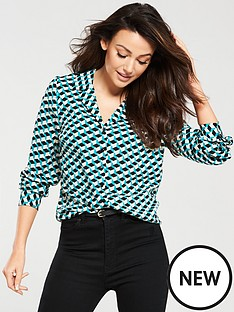 michelle-keegan-open-collar-woven-blouse-multi