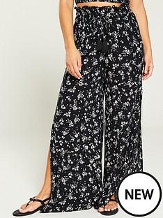 v-by-very-printed-co-ord-crinkle-beach-trouser-ditsy-print