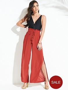 v-by-very-crinkle-side-slit-beach-trouser-rust