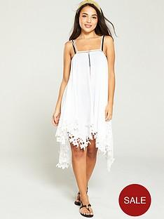 2decf589d9 V by Very Hanky Hem Lace Trim Strappy Beach Dress - White