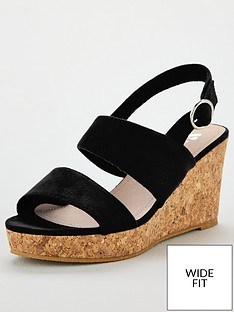 1a5d5816b58 V by Very Giselle Wide Fit Double Strap Wedge Sandals - Black
