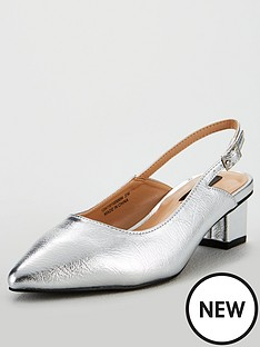 ed13881b92a Lost Ink Wide Fit Jolie Kitten Slingback Shoes - Silver