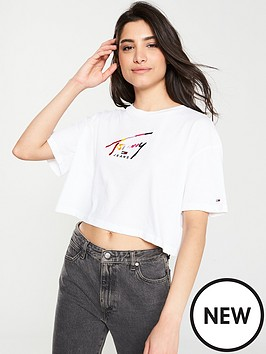 2396c216 Tommy Jeans Cropped Script T-Shirt - White | littlewoods.com
