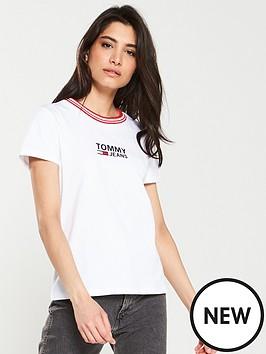 51737c0e Tommy Jeans Rib Neck Logo T-Shirt - White   littlewoods.com