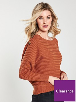 v-by-very-batwing-button-detail-rib-jumper-ochre