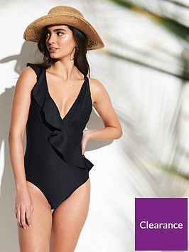 v-by-very-textured-frill-front-swimsuit