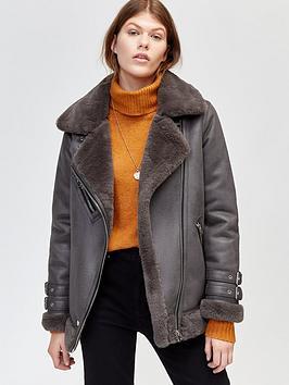 warehouse-faux-fur-pu-aviator-jacket