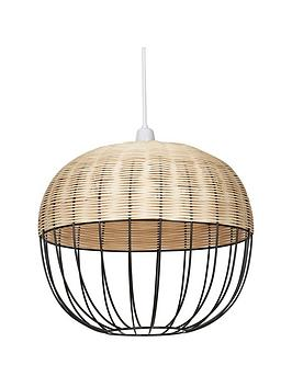 ideal-home-rattan-wire-easy-fit-pendant-lightshade