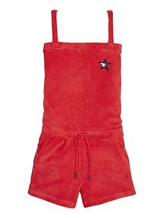 tommy-hilfiger-girls-towelling-playsuit-red