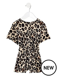 river-island-mini-mini-girls-brown-plisse-leopard-playsuit