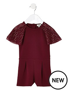 river-island-mini-mini-girls-burgundy-mesh-sleeve-playsuit