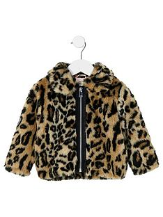 c87ea8270b River Island Mini Girls Brown Leopard Print Faux Fur Coat
