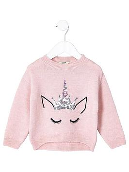 river-island-mini-mini-girls-pink-fluffy-knit-unicorn-jumper