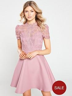 little-mistress-petite-crochet-top-mini-skater-dress-dusty-blush