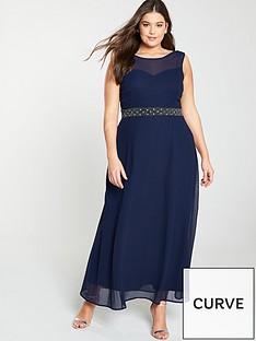 7b23f6179e5d7 Little Mistress Curve Beaded Waist Bridesmaid Maxi Dress - Navy