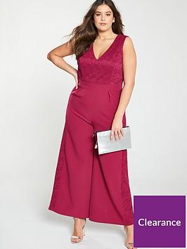 little-mistress-curve-lace-trim-jumpsuit-cranberry