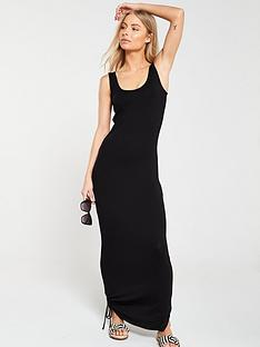 v-by-very-side-gather-jersey-maxi-dress-black