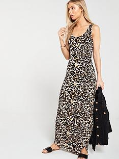 v-by-very-side-gather-jersey-maxi-dress-animal-print