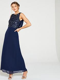 little-mistress-bridesmaid-high-neck-embellished-top-cowl-back-maxi-dress-navy