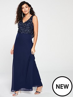 little-mistress-little-mistress-bridesmaid-v-neck-embellished-top-cowl-back-maxi-dress