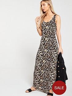 v-by-very-petite-side-gather-jersey-maxi-dress-animal-print