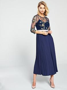 65287881a1b Little Mistress Mesh Top Embroidered Midaxi Dress - Navy