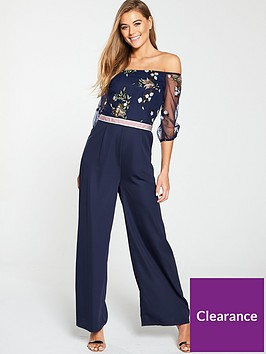 little-mistress-bardot-mesh-top-embroidered-jumpsuit-navy