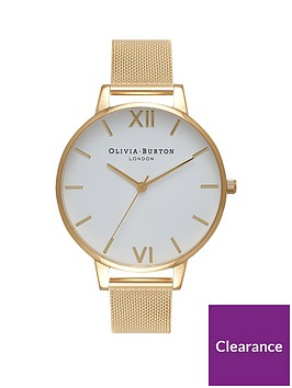 olivia-burton-white-and-gold-big-dial-gold-stainless-steel-mesh-strap-ladies-watch