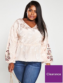 v-by-very-curve-embroidered-amp-embellished-sleeve-jacquard-blouse-blush