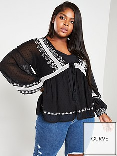v-by-very-curve-embroidered-tassel-trim-blouse-with-caminbsp--black