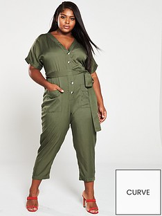 4a2db90d39 V by Very Curve Button Through Utility Jumpsuit
