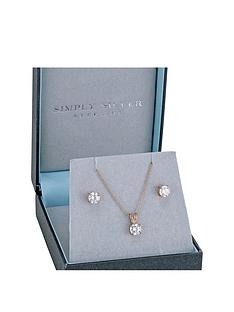 jon-richard-sterling-silver-14ct-rose-gold-plated-6mm-cubic-zirconia-earring-pendant-set