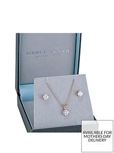 jon-richard-sterling-silver-14ct-rose-gold-plated-6mm-cubic-zirconia-earring-pendant-set
