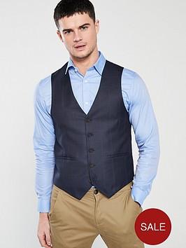 v-by-very-regular-fit-check-waistcoat-navy