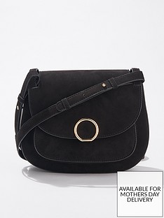 miss-selfridge-micro-saddle-bag-black