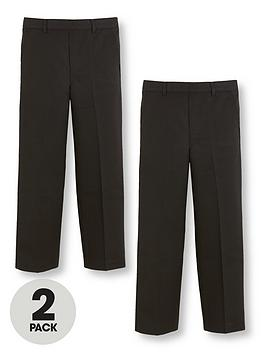 V by Very V By Very Boys 2 Pack Pull On School Trousers - Black Picture