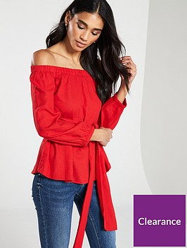 v-by-very-linen-bardot-top-red
