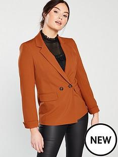 miss-selfridge-double-breasted-notch-sleeve-blazer-rust