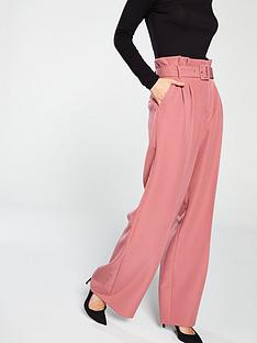 10db120b4088f Miss Selfridge Plain Belted Wide Leg Trouser - Rust