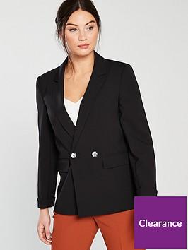 miss-selfridge-double-breasted-notch-sleeve-blazer-black