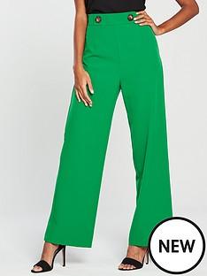 miss-selfridge-button-high-waist-wide-leg-trousers-green